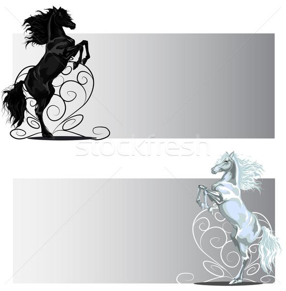 Valentijn paard banners zwart wit vector Stockfoto © LVJONOK