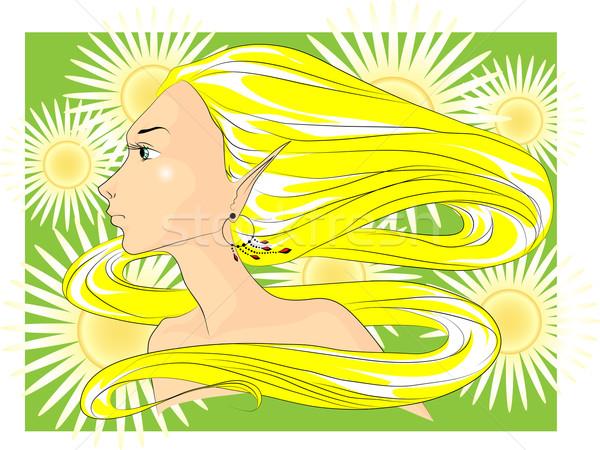 Női arc nyár arc fiatal nő hosszú haj virágok Stock fotó © LVJONOK