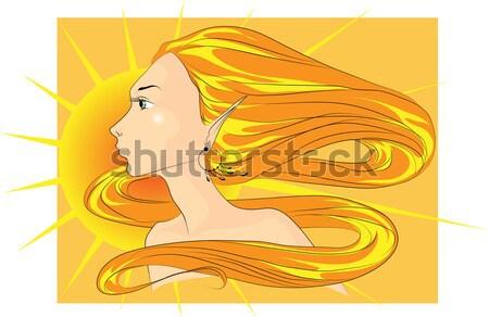 Sereno ragazza vettore immagine capelli lunghi Foto d'archivio © LVJONOK