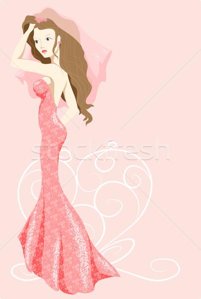 Menyasszony rózsaszín ruha hosszú nem gradiensek Stock fotó © LVJONOK