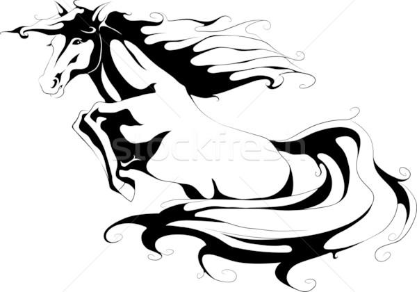 ジャンプ 馬 シルエット ファーム 黒 頭 ストックフォト © LVJONOK
