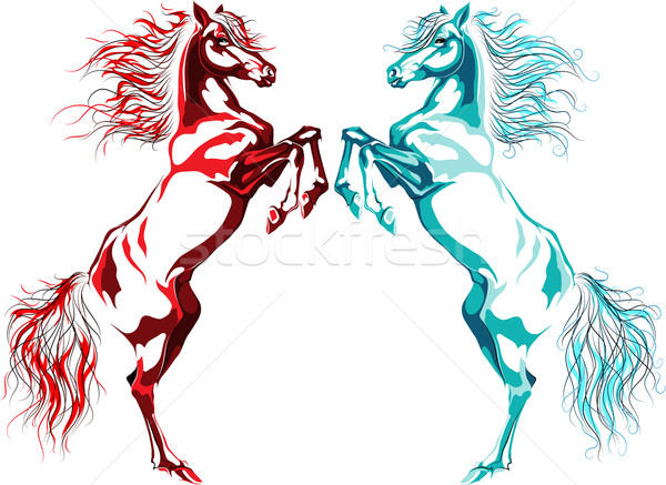 Two rear horses, fire and water Stock photo © LVJONOK