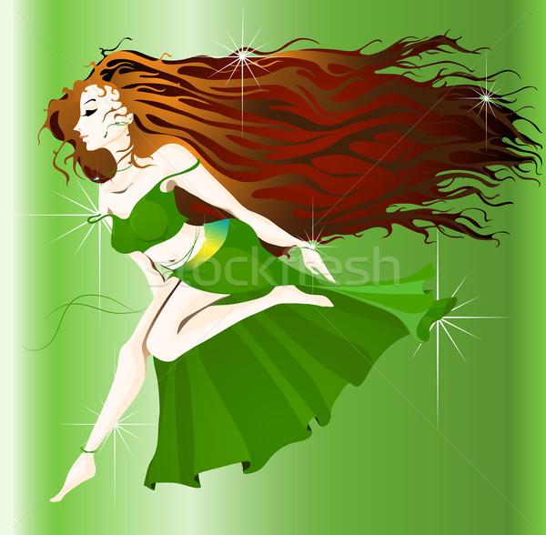 ジプシー 少女 ダンス 髪 緑 小さな ストックフォト © LVJONOK