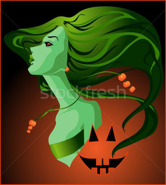 Halloween strega vettore immagine faccia sorriso Foto d'archivio © LVJONOK