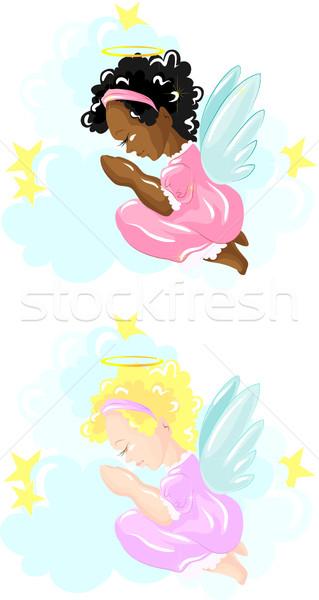 Kettő kicsi angyalok imádkozik vektor kép Stock fotó © LVJONOK