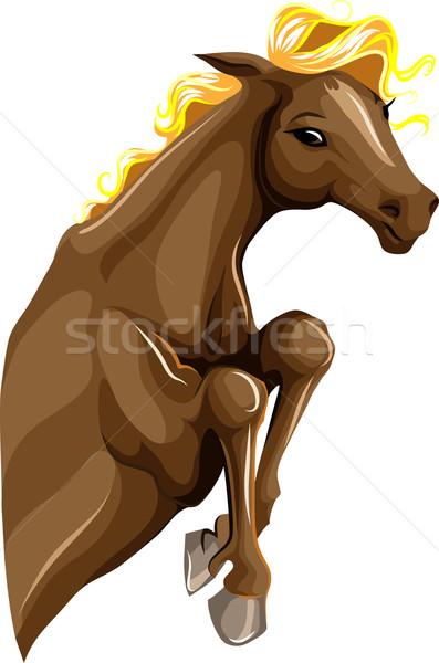 Ugrik ló rövid farm fekete sziluett Stock fotó © LVJONOK
