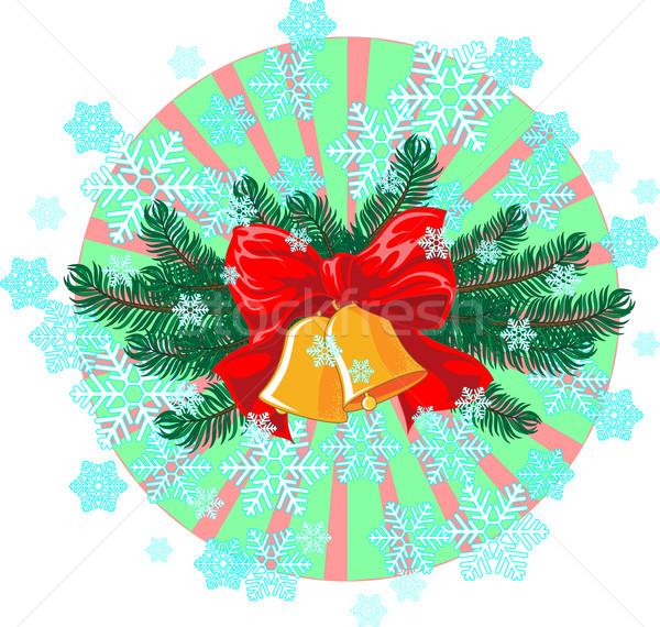Karácsony új év kettő lucfenyő gally gyönyörű Stock fotó © LVJONOK