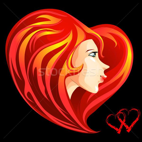 Valentin nap lány arc hosszú piros szív Stock fotó © LVJONOK