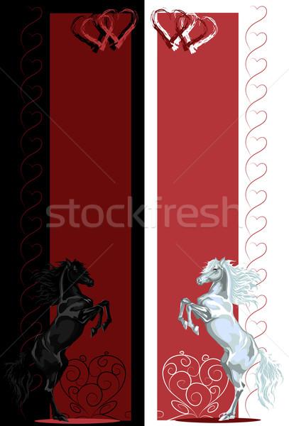 Valentin nap hátsó feketefehér ló bannerek vektor Stock fotó © LVJONOK