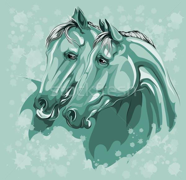 Due cavalli amore blu grunge farm Foto d'archivio © LVJONOK