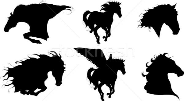 Zes paarden vector zwarte silhouetten lopen Stockfoto © LVJONOK