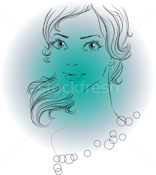 Outline image of woman with beautiful eyes Stock photo © LVJONOK