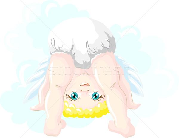 Weinig grappig engel meisje vector afbeelding Stockfoto © LVJONOK