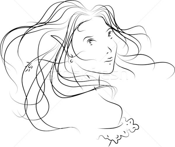 Volto di donna semplice ragazza faccia vento bella Foto d'archivio © LVJONOK