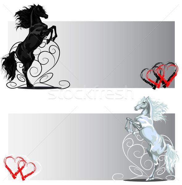 Valentin nap hátsó ló bannerek feketefehér vektor Stock fotó © LVJONOK