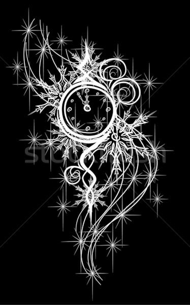 új év óra 12 vektor feketefehér illusztráció Stock fotó © LVJONOK