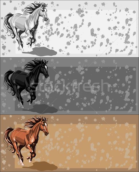 バナー を実行して 馬 ベクトル バナー 独立した ストックフォト © LVJONOK