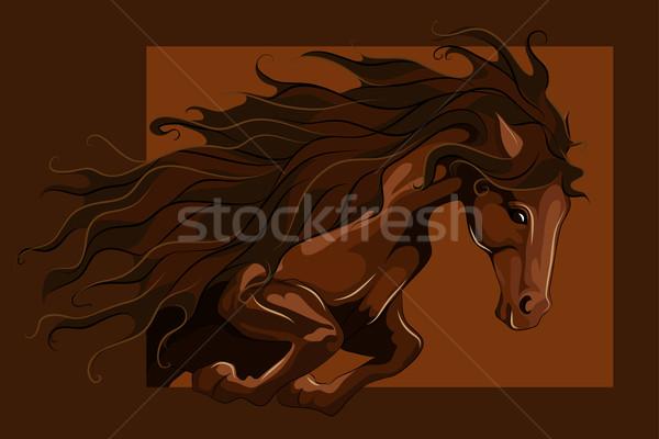 ストックフォト: ジャンプ · 馬 · 背景 · 脚 · 速度 · 暗い