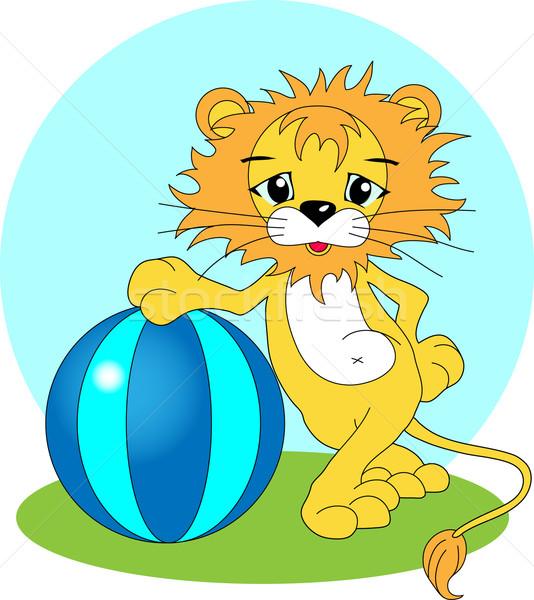 áll oroszlán nagy labda fű kék Stock fotó © LVJONOK