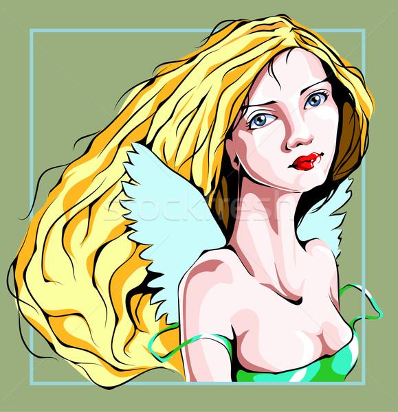 Angelo faccia piccolo ali capelli sfondo Foto d'archivio © LVJONOK