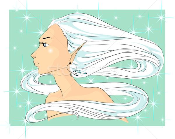 Kadın yüzü kış yüz genç kadın uzun beyaz saçlı Stok fotoğraf © LVJONOK