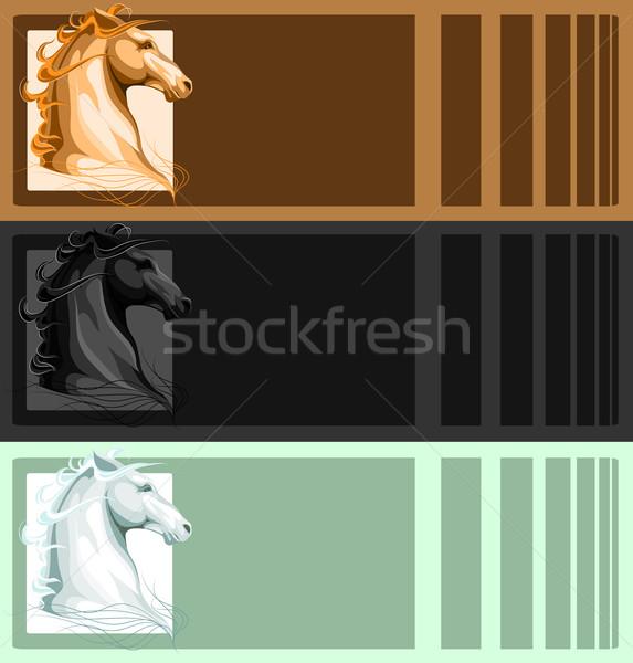 Banners paard hoofd vector onafhankelijk laag Stockfoto © LVJONOK