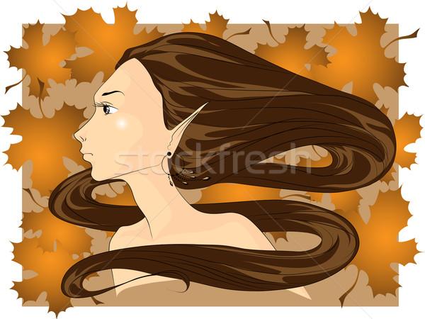 Volto di donna autunno faccia capelli lunghi foglie Foto d'archivio © LVJONOK