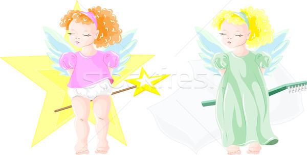 Kettő kicsi vektor kép tündér lányok Stock fotó © LVJONOK