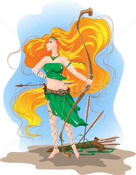 эльф женщину лучник долго оранжевый волос Сток-фото © LVJONOK