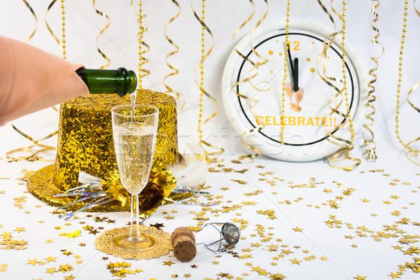 新しい 年 1 フルート シャンパン 金 ストックフォト © LynneAlbright
