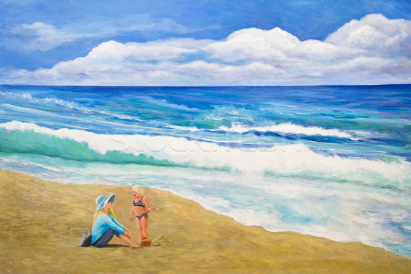 母親 娘 ビーチ 女の子 砂の城 ストックフォト © LynneAlbright