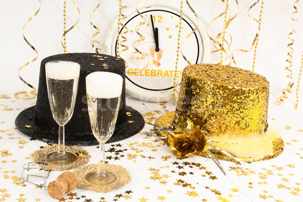祝う 新しい 年 2 フルート シャンパン ストックフォト © LynneAlbright