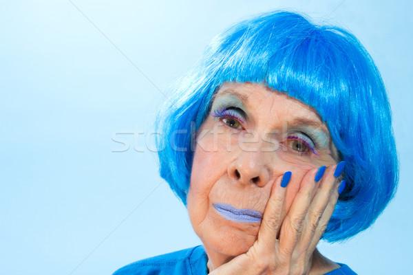 悲しい 青 女性 髪 唇 爪 ストックフォト © LynneAlbright