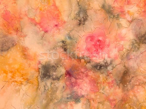 フローラル 桃 バラ 緑 金 フォーム ストックフォト © LynneAlbright