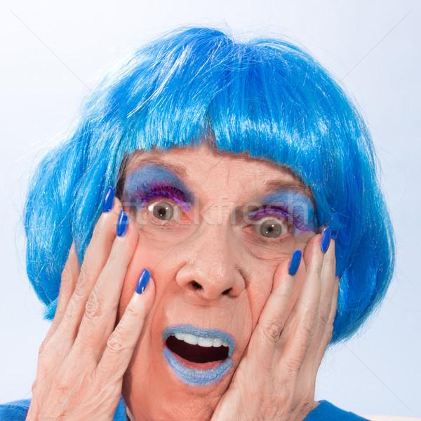 Meglepett kék hölgy haj ajkak körmök Stock fotó © LynneAlbright