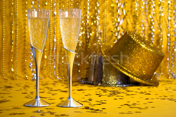 Plata champán flautas oro fiesta Foto stock © LynneAlbright
