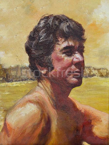 ハンサム 紳士 ハンサムな男 距離 アクリル 絵画 ストックフォト © LynneAlbright