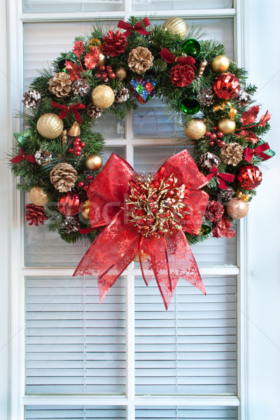 Christmas Wreath on Door Stock photo © LynneAlbright