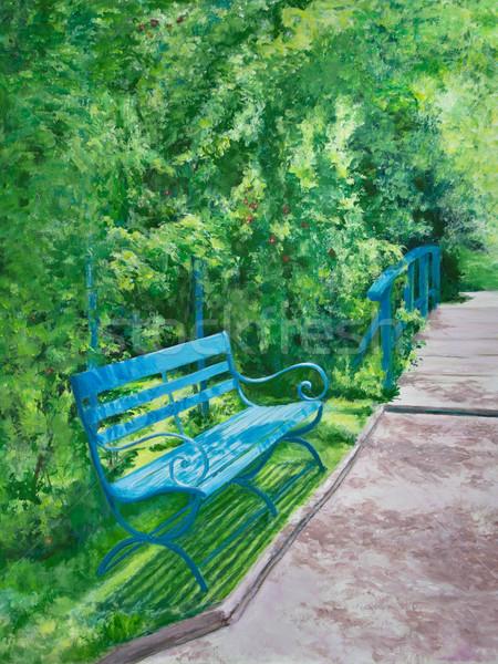 木製 ベンチ 緑 水 ユリ ストックフォト © LynneAlbright
