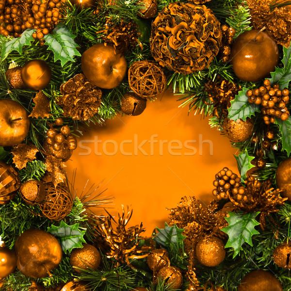 休日 金 花輪 緑 装飾された ストックフォト © LynneAlbright