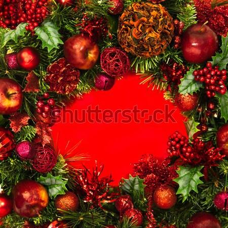 クリスマス 赤 緑 花輪 装飾された リンゴ ストックフォト © LynneAlbright