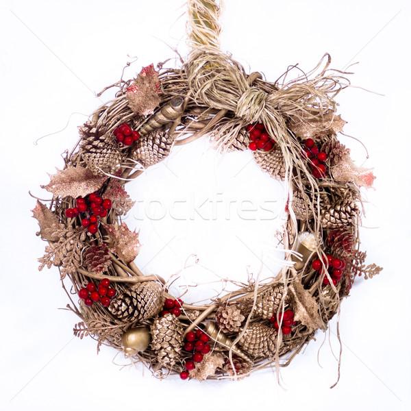休日 小枝 花輪 自然 装飾された 松 ストックフォト © LynneAlbright