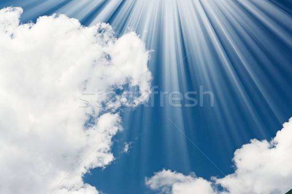 Zdumiewający słońce niebo Błękitne niebo spokój chmury Zdjęcia stock © lypnyk2