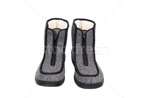 Inverno grigio scarpe bianco confortevole grigio Foto d'archivio © lypnyk2