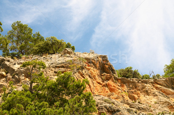 Blue sky with clouds and splendid mountains. Stock photo © lypnyk2