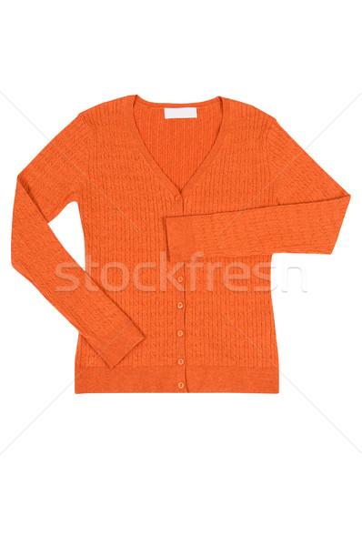 Stock photo: Elegant orange jumper  on a white.