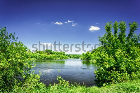 Csodálatos folyó kék ég kék dombok felhők Stock fotó © lypnyk2