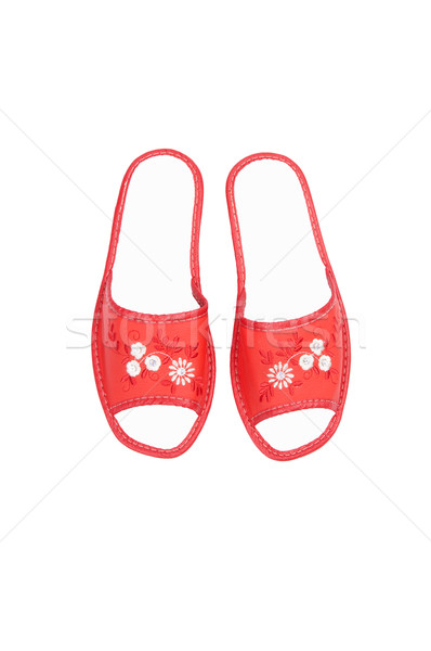 Comfortable leather slippers on a white. Stock photo © lypnyk2