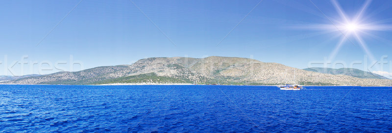 Wonderful yacht swimming in turquoise aegean sea. Stock photo © lypnyk2