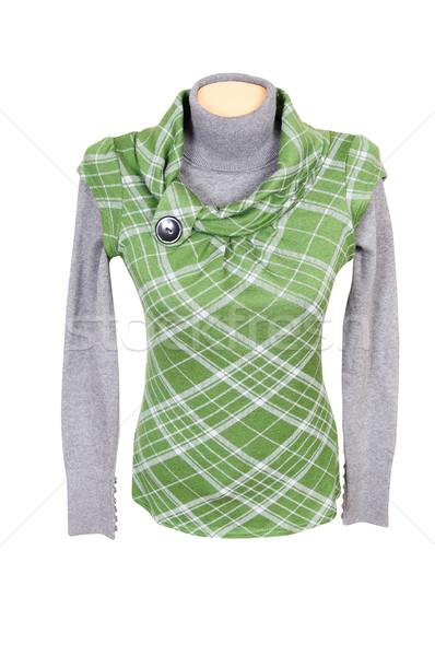 Amazing green waistcoat and gray sweater on a white. Stock photo © lypnyk2